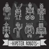 Hipster robot set Stock Photos