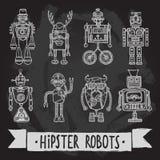 Hipster robot set Stock Photos
