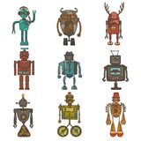 Hipster robot set Stock Photography