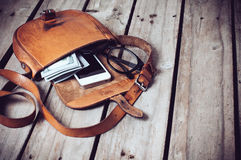 Hipster's bag Royalty Free Stock Photo