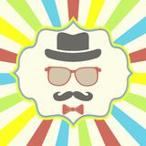 Hipster's hat, glasses, moustache Stock Photo