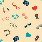 Hipster`s Pictures on The Light-Orange Background. Moustaches, glasses and notes Stock Photos