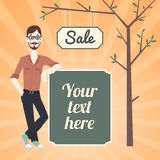 Hipster sale banner Stock Image