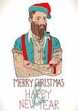 Hipster Santa Claus royaltyfri illustrationer