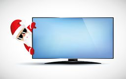 Hipster Santa Claus with cool beard and sunglasses behind TV. Vector illustration EPS 10 royalty free illustration