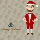 Hipster Santa Claus en Kerstboom en Vrolijke Kerstmis Royalty-vrije Stock Foto's