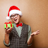 Hipster in Santa Claus Stock Photo