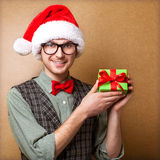 Hipster in Santa Claus Royalty Free Stock Photo