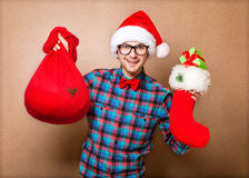 Hipster in Santa Claus Stock Photography