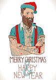 Hipster Santa Claus. Man with old school tattoo, Christmas and New Year illustration Royalty Free Stock Photo