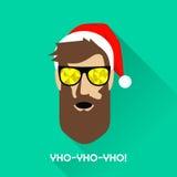 Hipster Santa Claus med solglasögon royaltyfri illustrationer