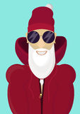 Hipster In Santa Claus met Modieuze baard en heupzonnebril Stock Foto's
