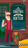 Hipster Santa Claus, monkey and taxi on New York street. Flat vector illustration for New Year and Christmas. Poster and banner Royalty Free Stock Photos