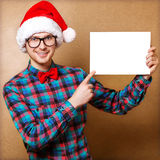 Hipster in Santa Claus Stock Image