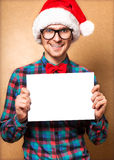 Hipster Santa Claus pointing Stock Images