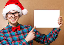 Hipster in Santa Claus Royalty Free Stock Images