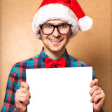 Hipster Santa Claus pointing Stock Photography