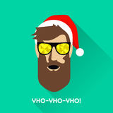 Hipster Santa Claus with sunglasses. Vector illustration of guy with sunglasses and a Christmas hat Royalty Free Illustration