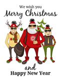 Hipster Santa and company Royalty Free Stock Images