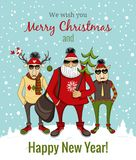 Hipster Santa and company Stock Images