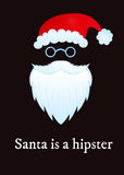 Hipster santa. Funny poster with Santa is a hipster text Stock Image