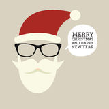 Hipster-santa silhouette with santa hat, aviator sunglasses and beard Royalty Free Stock Image