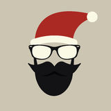 Hipster-santa silhouette with santa hat, aviator sunglasses and beard Stock Photo