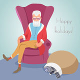 Hipster Santa sitting in a chair. EPS10 vector illustration Royalty Free Stock Photo