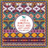 Hipster seamless aztec pattern. With geometric elements and quotes Royalty Free Stock Photos