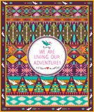 Hipster seamless aztec pattern with geometric elements. And quotes typographic text Stock Photos