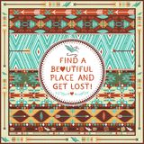 Hipster seamless aztec pattern with geometric elements vector illustration