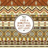 Hipster seamless aztec pattern. With geometric elements and quotes typographic text Stock Photography