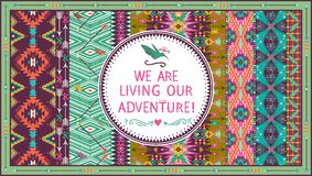 Hipster seamless aztec pattern with geometric elements and quotes typographic text Royalty Free Stock Images