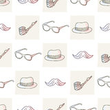 Hipster seamless pattern with hat and glasses Royalty Free Stock Images