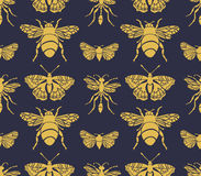 Hipster seamless pattern with Insects . Abstract triangular style. Royalty Free Stock Images