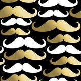 Hipster seamless pattern mustache man gold icon. Hipster mustache seamless pattern, classy beard elements in gold. EPS10 vector royalty free illustration