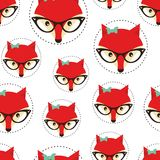Hipster seamless pattern with red lady fox. Royalty Free Stock Image