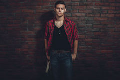 Hipster serious man casual clothes unbuttoned Stock Photo