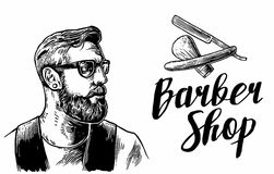 Hipster shave haircut in the BarberShop. Vector black and white illustrations and typography elements. Hand drawn Stock Photo