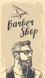 Hipster shave haircut in the BarberShop. Vector black and white illustrations and typography elements. Hand drawn. Hipster shave haircut in the BarberShop Royalty Free Stock Photos
