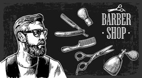 Hipster shave haircut in the BarberShop. Vector black and white illustrations and typography elements. Stock Photography