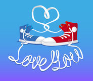 Hipster shoes with sign Love you Stock Images