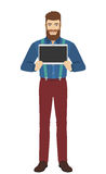 Hipster showing blank digital tablet PC Royalty Free Stock Photography