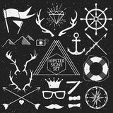 Hipster signs set. Antlers, anchor, lifebuoy, arrows, logo, etc. Vector Illustration. Royalty Free Stock Photo