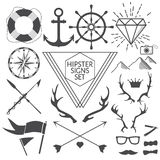 Hipster signs and symbols set with anchor. Hipster signs and symbols set. Vector Illustration for artwork, party flyers, posters, banners, other desing royalty free illustration