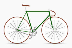 Hipster single speed bike in green and brown colors. City bicycle Royalty Free Stock Photos