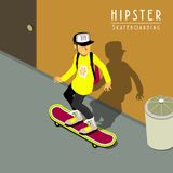 Hipster skateboarding Royalty Free Stock Images