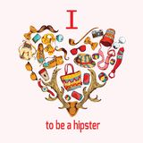 Hipster sketch heart Stock Images