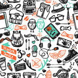 Hipster Sketch Seamless Pattern Royalty Free Stock Photos