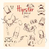Hipster sketch set Royalty Free Stock Photos